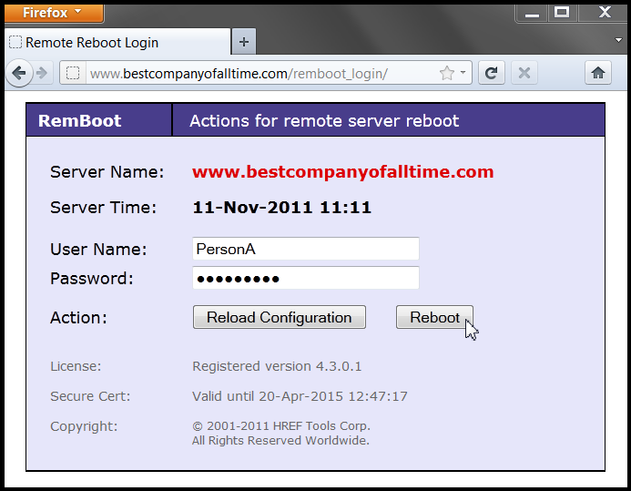 Screenshot of Remote Reboot Utility login